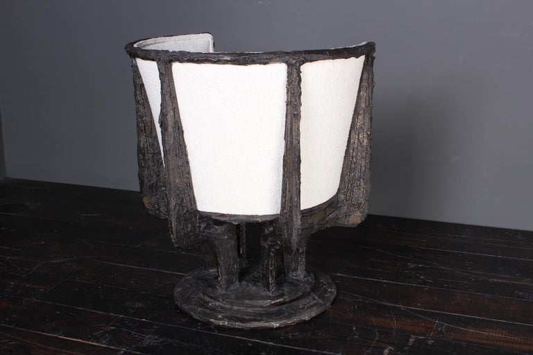 Paul Evans Sculpted Bronze Swivel Chair For Sale 10