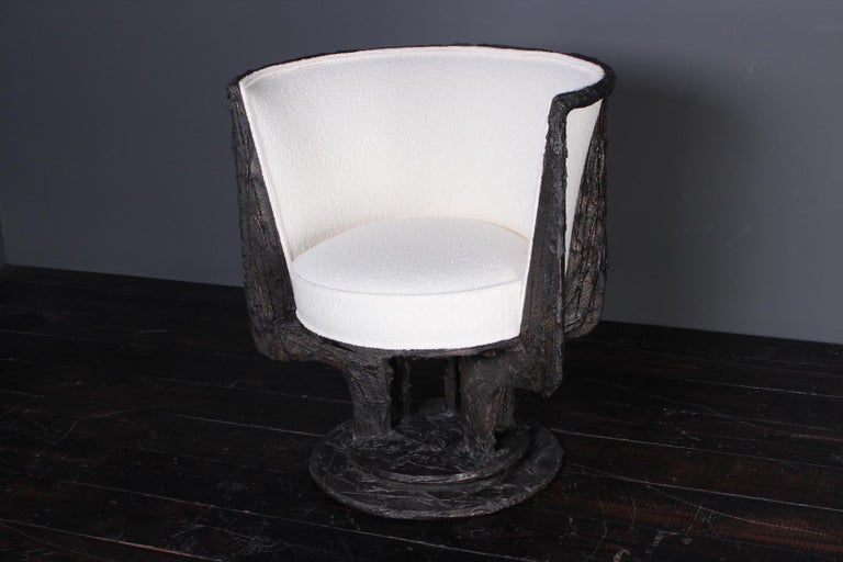 Mid-20th Century Paul Evans Sculpted Bronze Swivel Chair For Sale
