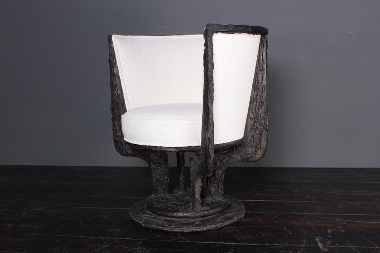 Paul Evans Sculpted Bronze Swivel Chair For Sale 2