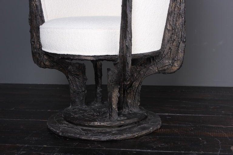 Paul Evans Sculpted Bronze Swivel Chair For Sale 3