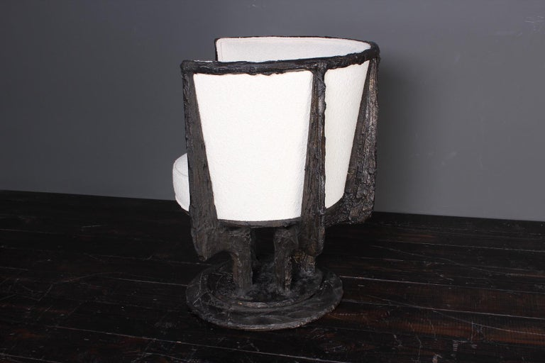 Paul Evans Sculpted Bronze Swivel Chair For Sale 4