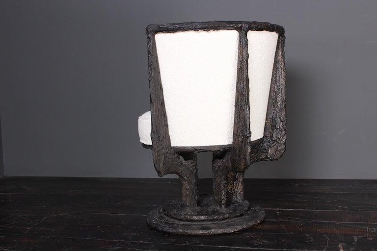 Paul Evans Sculpted Bronze Swivel Chair For Sale 5