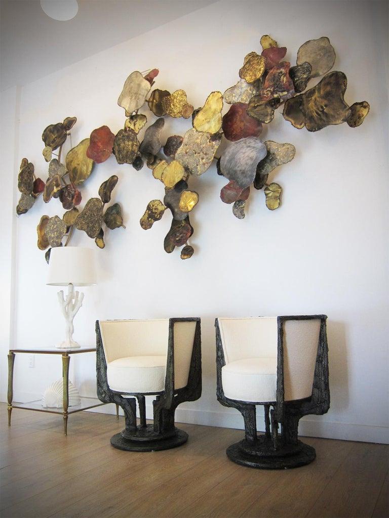 Paul Evans Studio for Directional, Sculpted-bronze series lounge chairs model PE 141 Exceptional abstract forms, solid volumes and powerful brutal shapes, Swivel and barrel back  Exceptional collector's condition Carefully upholstered in