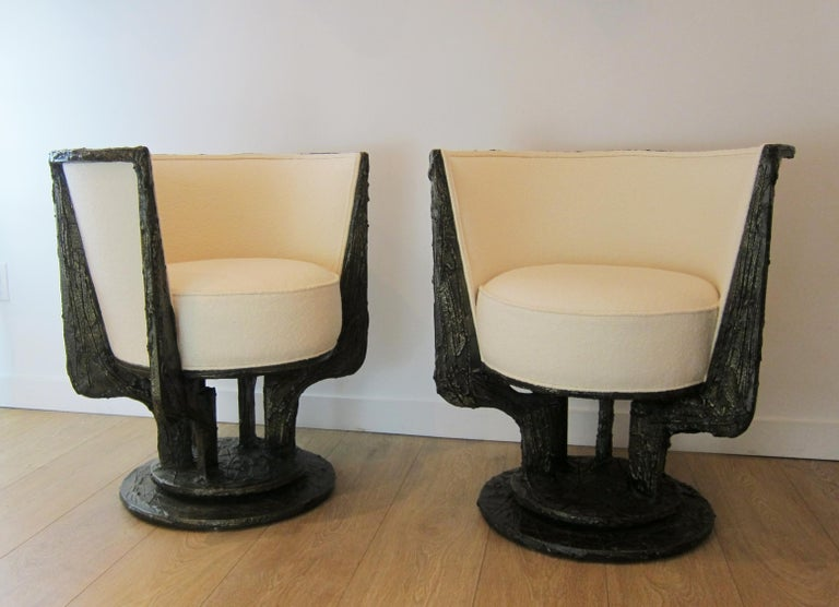 Brutalist Paul Evans Sculpted Bronze Swivel Lounge Chairs For Sale