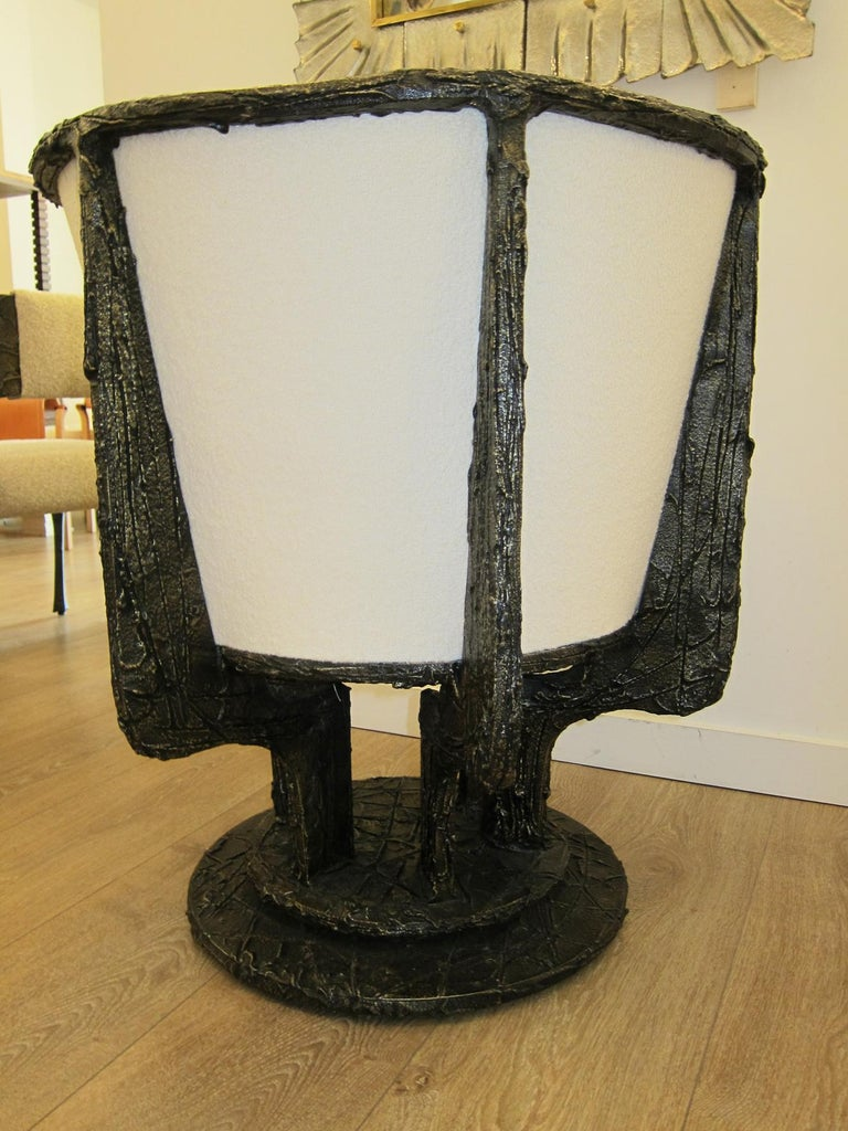Paul Evans Sculpted Bronze Swivel Lounge Chairs In Excellent Condition For Sale In Miami, FL