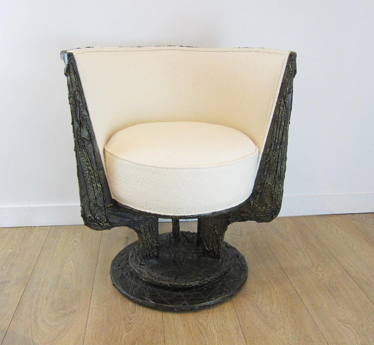 Paul Evans Sculpted Bronze Swivel Lounge Chairs For Sale 1