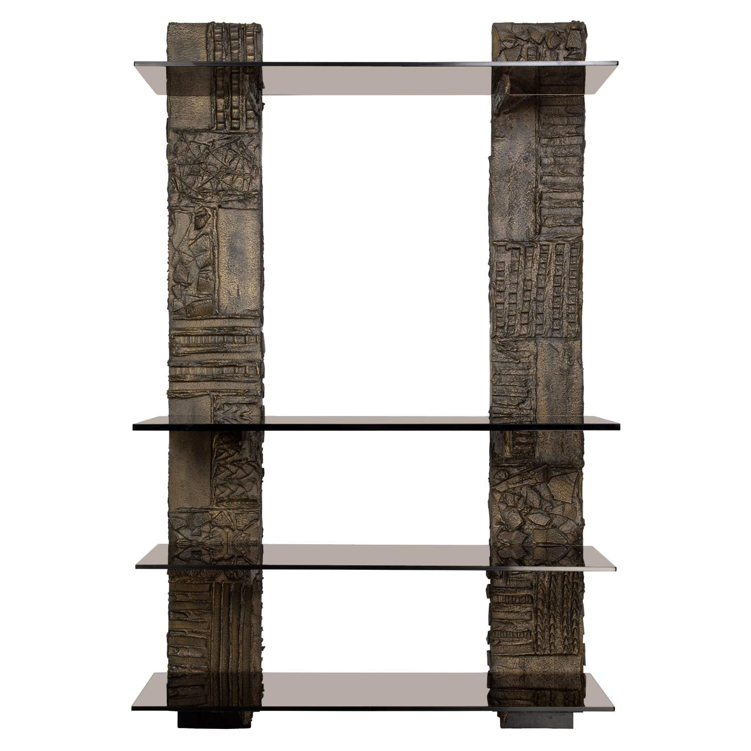 Paul Evans Sculpted Bronze Wall Unit 1974 'Signed and Dated'