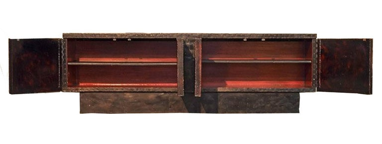Polychromed  Paul Evans Brutalist  Welded Steel Cabinet, Model PE40A. For Sale