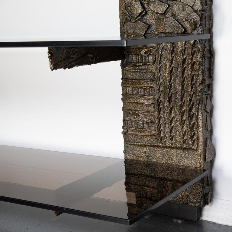 Glass Paul Evans Sculpted Metal Shelving Unit, 1974 For Sale