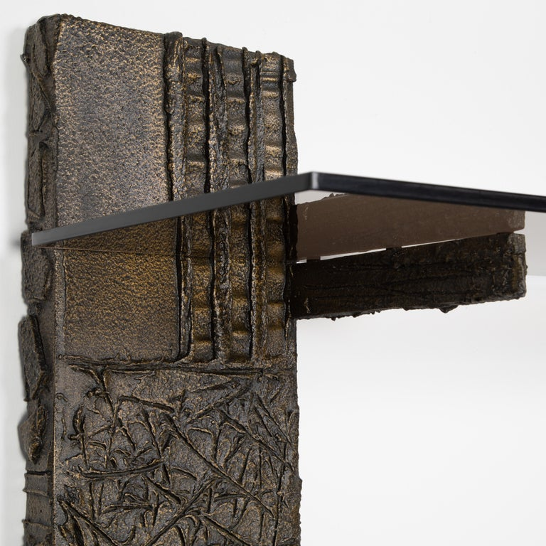 Paul Evans Sculpted Metal Shelving Unit, 1974 For Sale 1