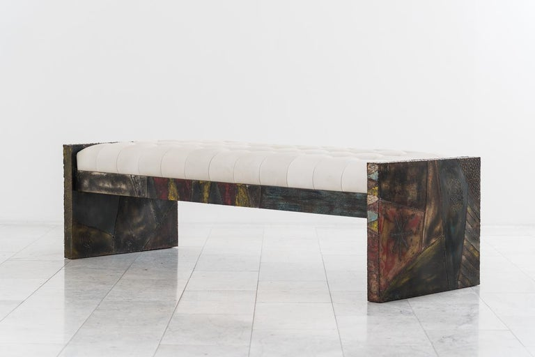 American Paul Evans, Sculpted Steel Bench, USA For Sale
