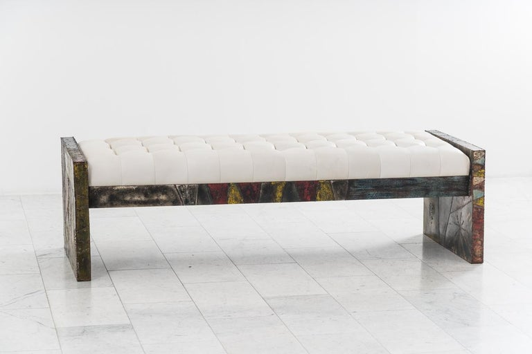 Mid-20th Century Paul Evans, Sculpted Steel Bench, USA For Sale