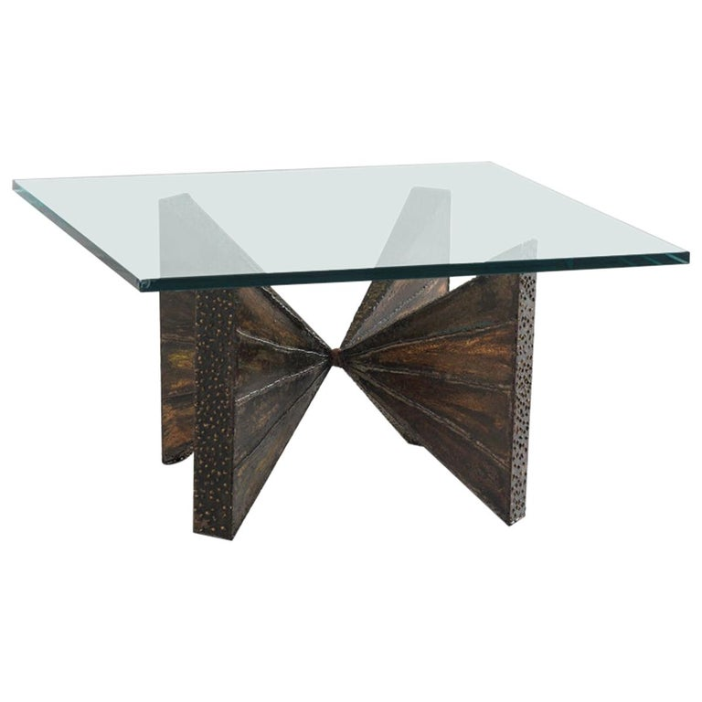 Paul Evans, Sculpted Steel Cocktail Table 'PE 12-42', USA For Sale
