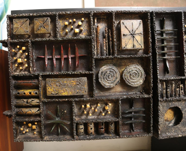 Metal Paul Evans Sculpture Front Cabinet For Sale