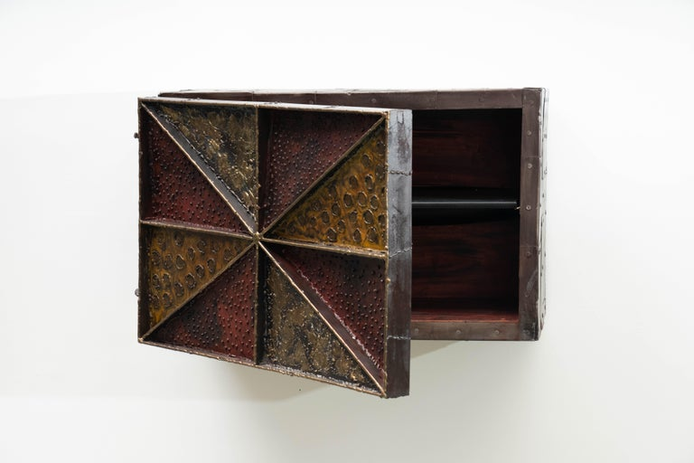 Mid-20th Century Paul Evans, Sculpture Front Wall-Mounted Cabinet, USA For Sale