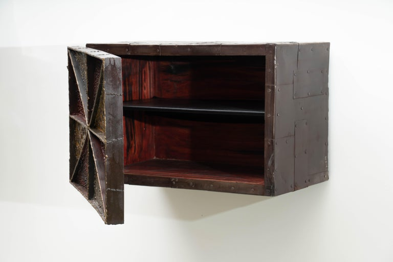 Steel Paul Evans, Sculpture Front Wall-Mounted Cabinet, USA For Sale