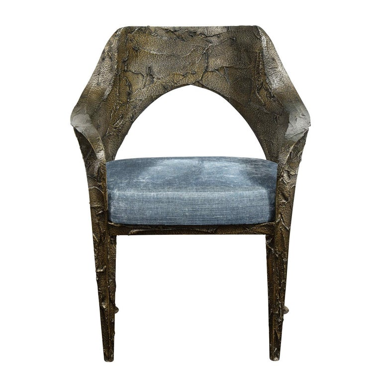 Rare and important set of 6 sculptural dining chairs in bronzed resin with upholstered seats by Paul Evans, American 1969 (signed