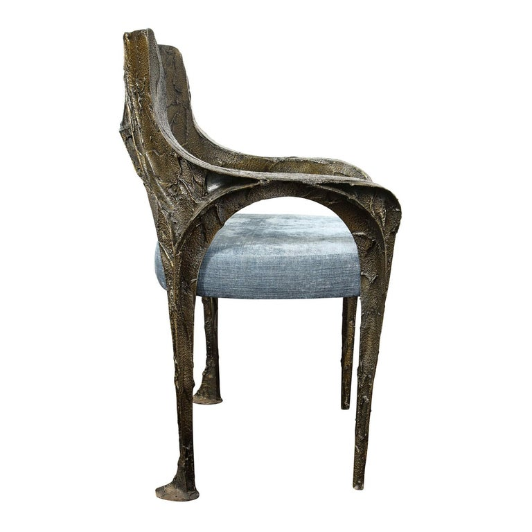 American Paul Evans Set of 6 Rare and Important Bronze Resin Dining Chairs 1969 'signed' For Sale