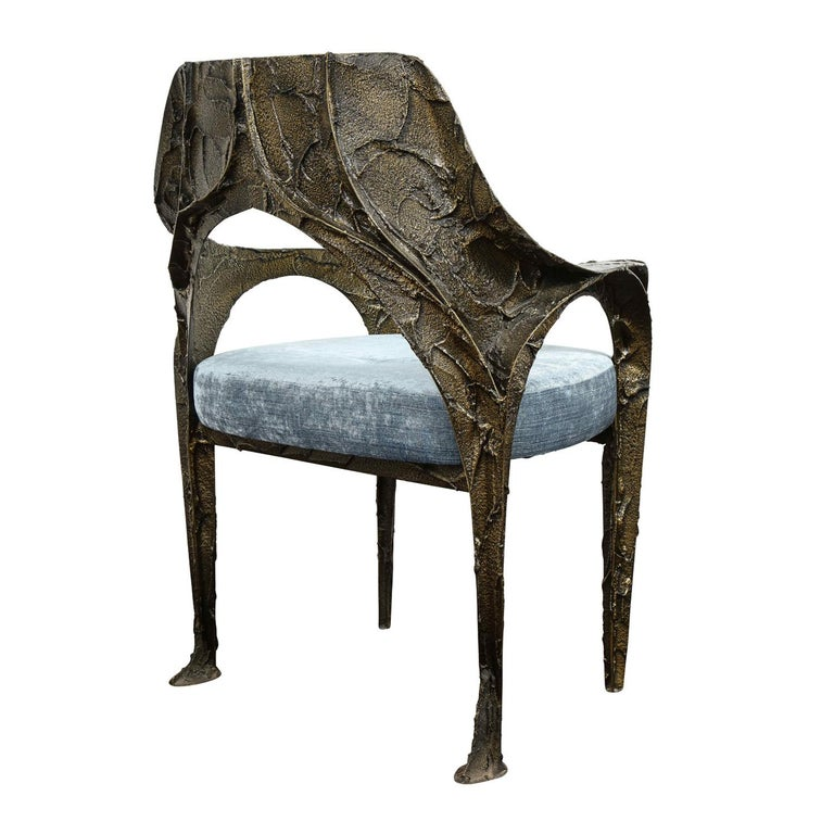 Hand-Crafted Paul Evans Set of 6 Rare and Important Bronze Resin Dining Chairs 1969 'signed' For Sale