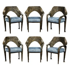 Paul Evans Set of 6 Rare and Important Bronze Resin Dining Chairs 1969 'signed'