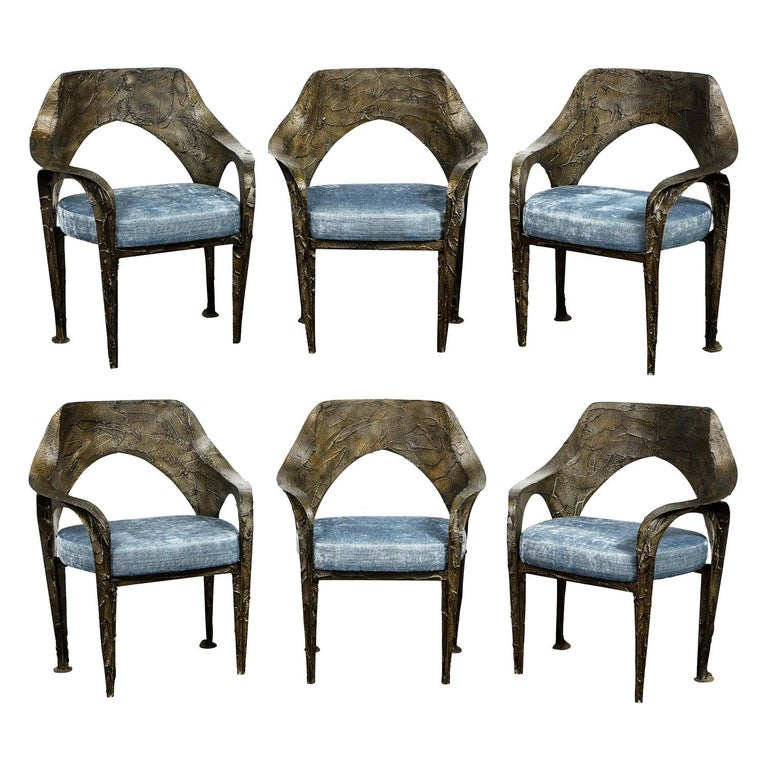 Paul Evans Set of 6 Rare and Important Bronze Resin Dining Chairs 1969 'signed' For Sale