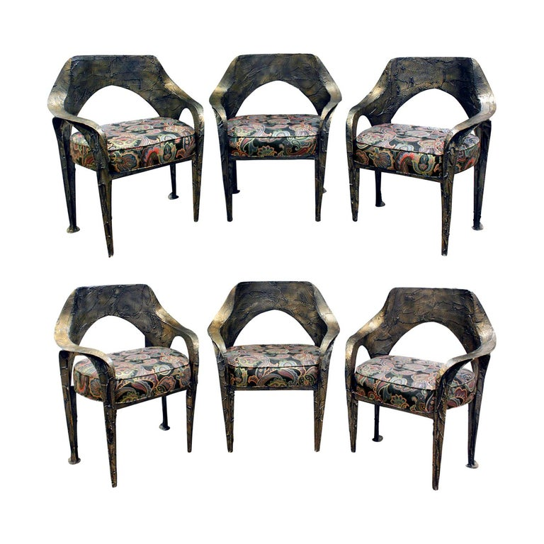 Paul Evans Set of 6 Rare and Important Dining Chairs, 1969 'Signed' For Sale