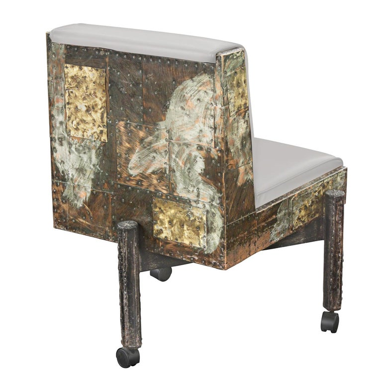 Hand-Crafted Paul Evans Set of 6 Rare and Exceptional Patchwork Dining Chairs 1967 'Signed' For Sale
