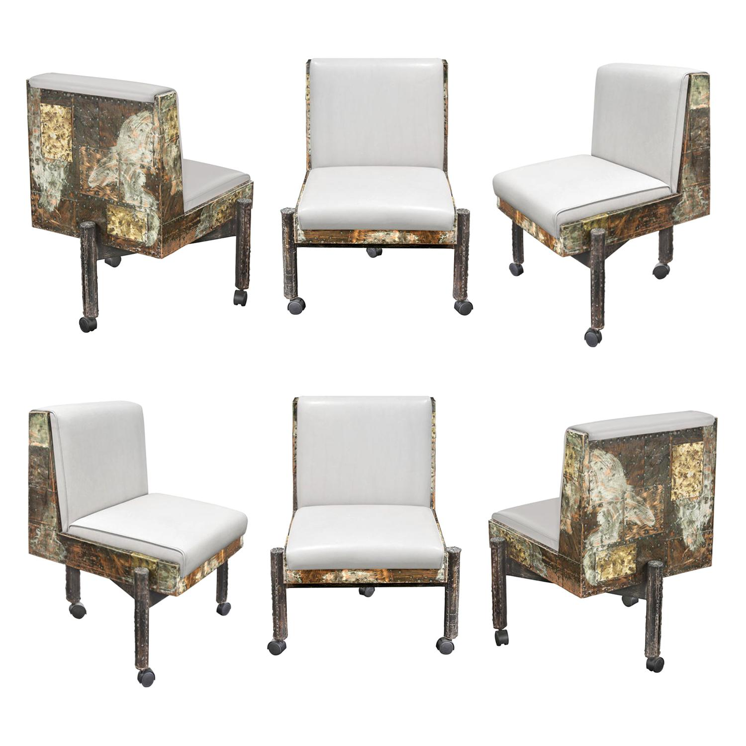 Paul Evans Set of 6 Rare and Exceptional Patchwork Dining Chairs 1967 'Signed'