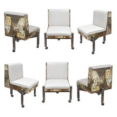 Paul Evans Set of 6 Rare Patchwork Dining Chairs 1967 'Signed'