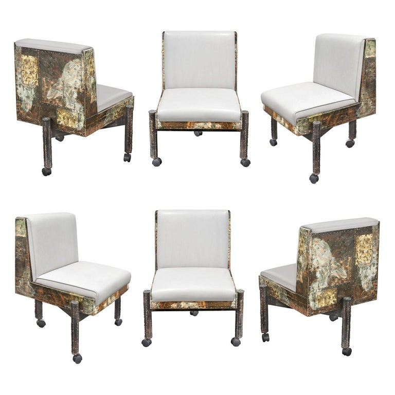 Paul Evans Set of 6 Rare and Exceptional Patchwork Dining Chairs 1967 'Signed' For Sale