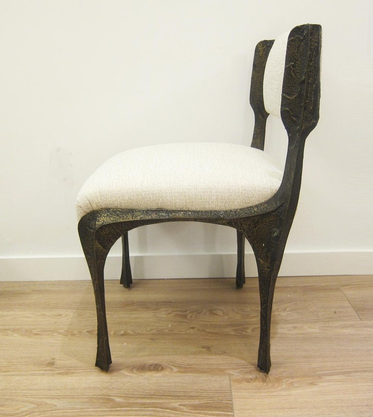 American Paul Evans Set of Eight Brutalist Sculpted Bronze Dining Chairs For Sale