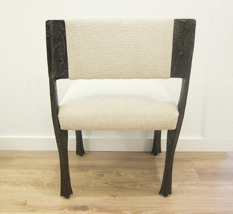 Paul Evans Set of Eight Brutalist Sculpted Bronze Dining Chairs In Excellent Condition For Sale In Miami, FL
