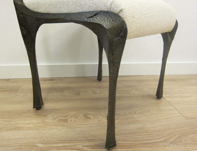 Mid-20th Century Paul Evans Set of Eight Brutalist Sculpted Bronze Dining Chairs For Sale
