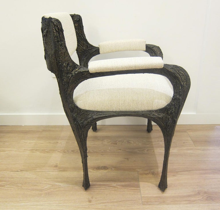 Paul Evans Set of Eight Brutalist Sculpted Bronze Dining Chairs For Sale 2