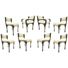 Set of Eight Brutalist Sculpted Bronze Dining Chairs by Paul Evans