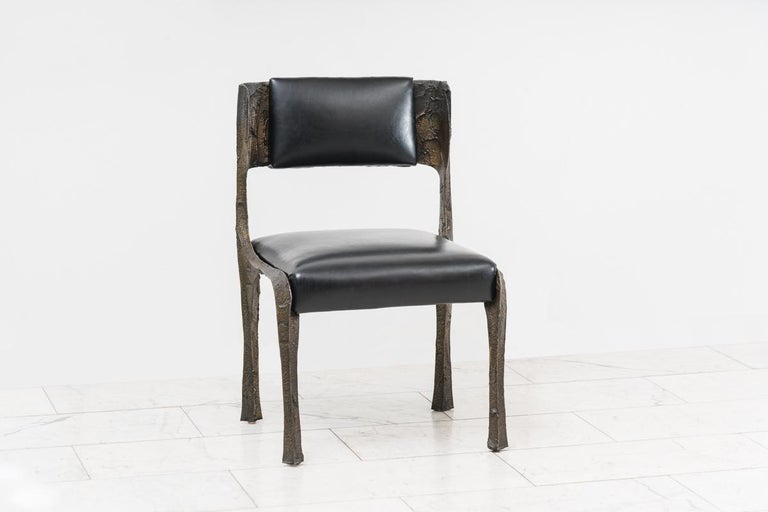 Set of four sculpted bronze chairs by Paul Evans USA, c. 1970 (model PE-106.).