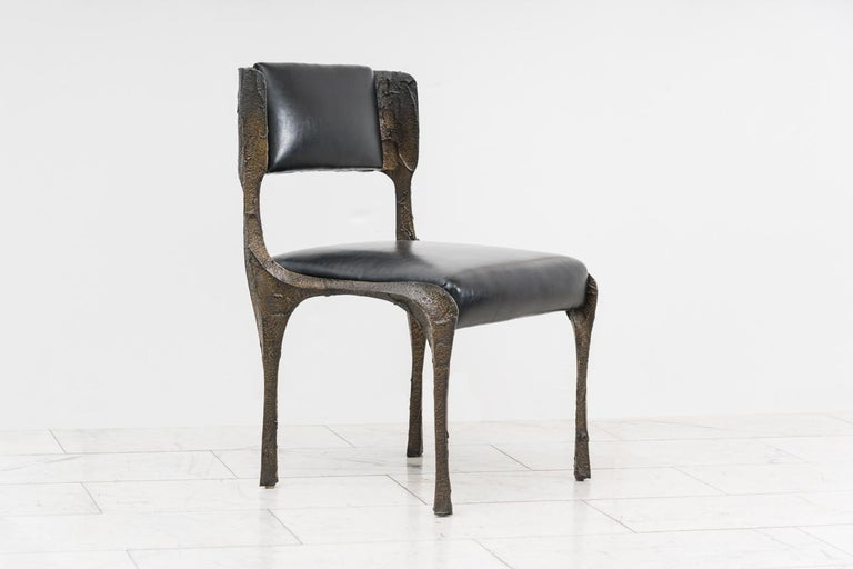 American Paul Evans, Set of Four Sculpted Bronze Chairs, USA For Sale