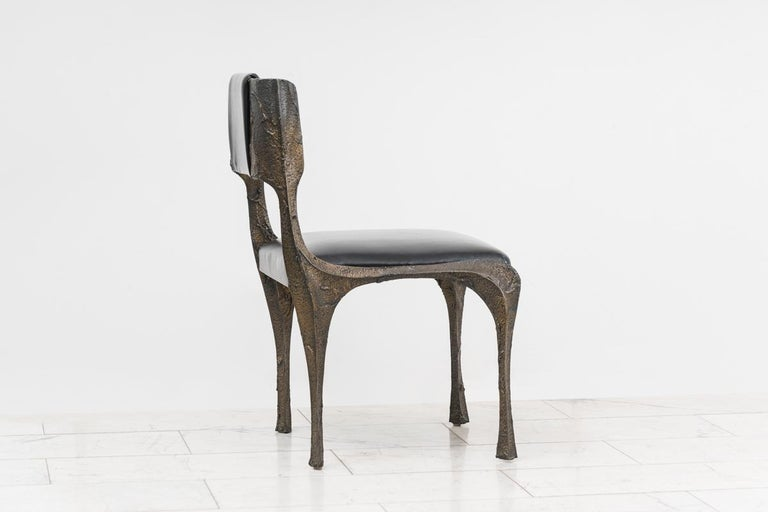 Paul Evans, Set of Four Sculpted Bronze Chairs, USA In Excellent Condition For Sale In New York, NY