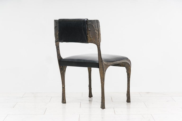 Late 20th Century Paul Evans, Set of Four Sculpted Bronze Chairs, USA For Sale
