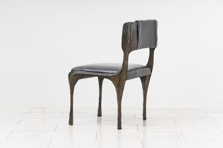 Paul Evans, Set of Four Sculpted Bronze Chairs, USA For Sale 2