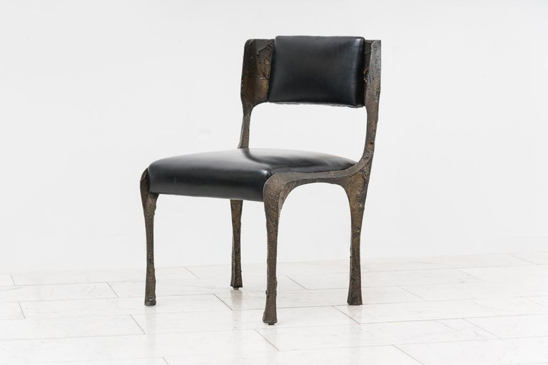 Paul Evans, Set of Four Sculpted Bronze Chairs, USA For Sale 3