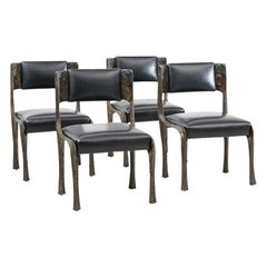 Paul Evans, Set of Four Sculpted Bronze Chairs, USA