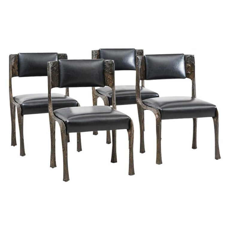 Paul Evans, Set of Four Sculpted Bronze Chairs, USA For Sale