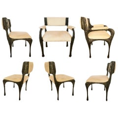Paul Evans Set of Six Brutalist Sculpted Bronze Dining Chairs