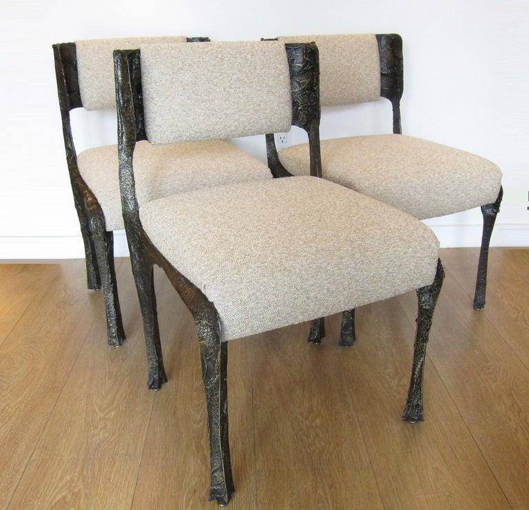 Paul Evans Set of Twelve Brutalist Sculpted Bronze Dining Chairs 1