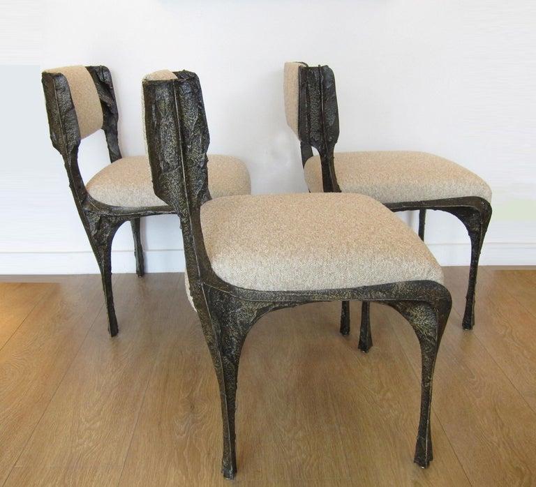 Paul Evans Set of Twelve Brutalist Sculpted Bronze Dining Chairs 2