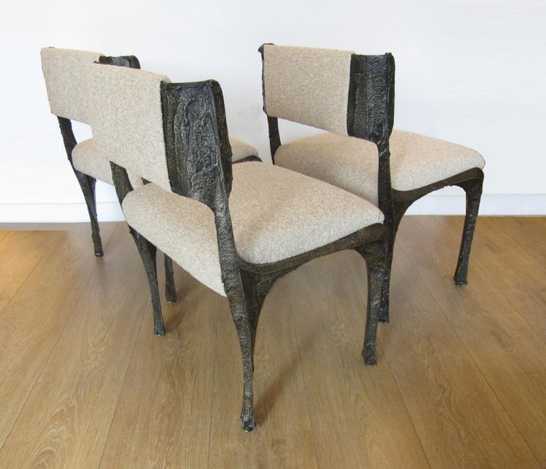 Paul Evans Set of Twelve Brutalist Sculpted Bronze Dining Chairs 3