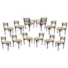 Paul Evans Set of Twelve Brutalist Sculpted Bronze Dining Chairs