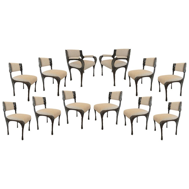 Paul Evans Set of Twelve Brutalist Sculpted Bronze Dining Chairs