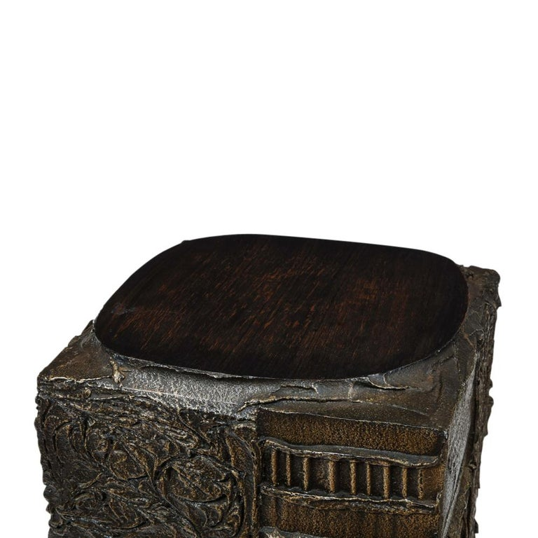 Paul Evans Side Table, Sculpted Bronze and Walnut, Signed For Sale 5